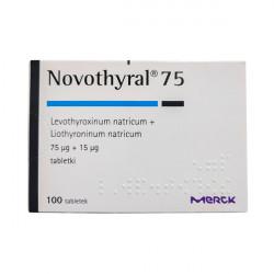 Купить Новотирал, Novothyral (аналог Тиреотома) 75 15мкг №100 в Краснодаре